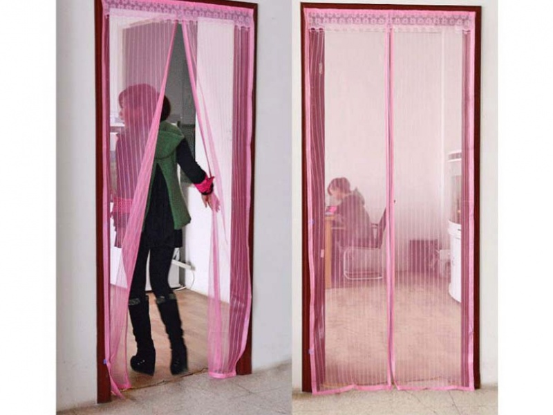 """Анти москитная магнитная шторка """"magic mesh"""" розовая, купить."""