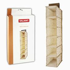 Кофр Valiant AC302 подвесной для хранения, 6 секций, 15х30х84см, бежевыйТовары для гардероба<br><br>