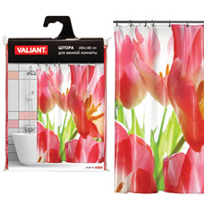 Штора для ванной Valiant RT Красные тюлбпаны, 180х180смТовары для ванной комнаты<br><br>
