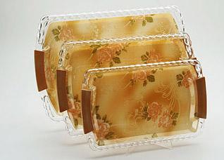 Набор подносов Super Kristal SK-3248, 3 пр, Чайная розаСервировка стола<br><br>