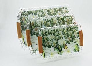 Набор подносов Super Kristal SK-3252, 3 пр, ЛилииСервировка стола<br><br>