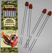 Набор двойных шампуров 34 см с деревянными ручками, 4шт Boyscout 61052Шашлык, барбекю<br><br>