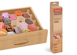 Разделители для ящиков Соты, набор 8шт., 37x7см, Drawer organiser Valiant ORG-8Товары для гардероба<br><br>
