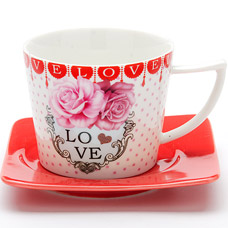 Чайная пара Lorraine LR-24708, 2пр 230мл I love youСервировка стола<br><br>