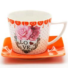 Чайная пара Lorraine LR-24710, 2пр 230мл I love youСервировка стола<br><br>