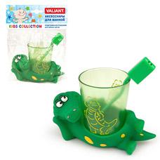Подставка со стаканом для зубных щеток Крокодильчики Valiant KC-A-THТовары для ванной комнаты<br><br>