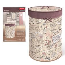 Корзина для белья с крышкой, складная, бамбук, d35 см, h55 см, Romantic Valiant RM-BB-XLТовары для гардероба<br><br>