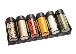 Емкости для специй для выдвижного ящика Season 6 шт., антрацитовые Tescoma 657060Организация и уборка кухни<br><br>