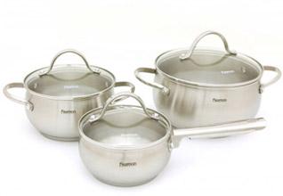 Набор посуды Martinez 6 пр. со стеклянными крышками Fissman 5829Кастрюли<br><br>