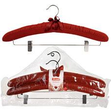Набор вешалок мягких тканевых с перекл. и клипсами 2 шт., бордовый 48x23см Valiant 7059pcТовары для гардероба<br><br>
