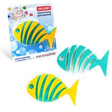 Мини-коврик Рыба полосатая на присосах, набор 6 шт., жёлтый+голубой, 13.2x7.3 см Valiant K6-20Товары для ванной комнаты<br><br>