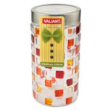 Банка с метал. крышкой, color series, круглая, 11x11x22 см, 1750 мл Valiant JK-B1750Хранение продуктов<br><br>