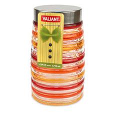 Банка с метал. крышкой, color series, круглая, 9x12x21 см, 1750 мл Valiant JP-B1750Хранение продуктов<br><br>