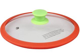 Стеклянная крышка для сковороды, кастрюли с силиконовым кантом 26 см PomidOro L2604Стеклянные крышки<br><br>
