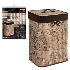 Корзина для белья с крышкой, складная, бамбук, 35x35x50см, Expedition History Valiant EXP-HBB-XLТовары для гардероба<br><br>