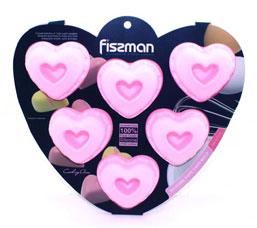 Форма для выпечки 6 кексов Сердечки 25 x 18 x 3 см Fissman 6722Выпечка<br><br>