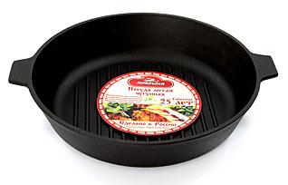 Сковорода гриль чугунная Добрыня DO-3324 (28х6 см)Сковороды антипригарные<br><br>