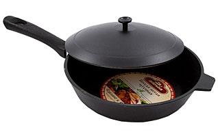 Сковорода с крышкой чугунная Добрыня DO-3321 (26х6 см)Сковороды антипригарные<br><br>