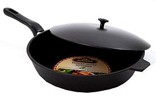 Сковорода с крышкой чугунная Добрыня DO-3329 (28х6 см)Сковороды антипригарные<br><br>