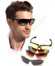 Очки спортивные солнцезащитные с 5 сменными линзами в чехле Bradex SF 0156 черныеТовары для здоровья<br><br>