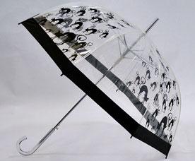 Зонт-трость Ame Yoke (Аме Йоке) L-60-A (полу-авт. с рисунком прозрачный, спица 60 см)Зонты<br><br>