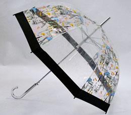 Зонт-трость Ame Yoke (Аме Йоке) L-60-C (полу-авт. с рисунком прозрачный, спица 60 см)Зонты<br><br>