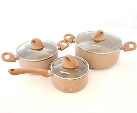 Набор посуды 6 пр. Latte  со стеклянными крышками Fissman 4952Кастрюли<br><br>