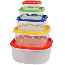 Набор пластиковых контейнеров Rosenberg RPL-575005-5 5штХранение продуктов<br><br>