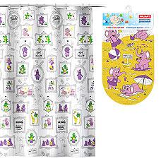 Комплект Слоники: штора 180х180 см, PEVA + коврик , 69х39 см, винил Valiant K1818-AF/K6939-ELТовары для ванной комнаты<br><br>