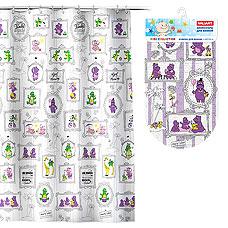 Комплект Бегемотики: штора 180х180 см, PEVA + коврик , 69х39 см, винил Valiant K1818-AF/K6939-HPТовары для ванной комнаты<br><br>