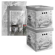 Короб картонный, складной, большой, 28х38х31.5 см, набор 2 шт., Japanese Black Valiant JB-BCTN-2MТовары для гардероба<br><br>