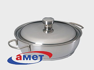 Сковорода с ТРС-3 с дв.руч. мет/кр. 220мм Амет 1с746Сковороды антипригарные<br><br>