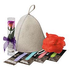Набор банных принадлежностей Банные штучки 34217 (шапка,мыл.цветы,мочалка,бальзам,шампунь,гель,мыло)Все для бани<br><br>