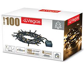 Электрогирлянда Нить 10м, 100 теплых LED ламп Vegas 55062Гирлянды<br><br>