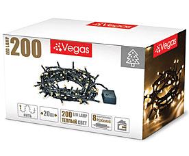 Электрогирлянда Нить 20м, 200 теплых LED ламп Vegas 55068Гирлянды<br><br>