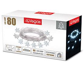 Электрогирлянда Снежинки 10м, 80 холодных LED ламп Vegas 55082Гирлянды<br><br>