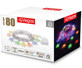 Электрогирлянда Цветочки 10м, 80 разноцветных LED ламп Vegas 55084Гирлянды<br><br>
