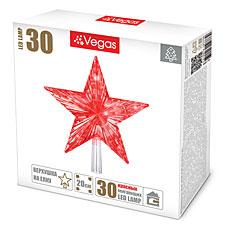 Верхушка на елку Звезда 20х20см, красная 30 красных мигающих LED Vegas 55086Гирлянды<br><br>