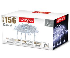 Электрогирлянда Занавес 1,5x1,5м, 156 холодных LED ламп, 12 нитей Vegas 55078Гирлянды<br><br>