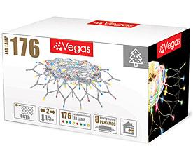 Электрогирлянда Сеть 2x1,5м, 176 разноцветных LED ламп Vegas 55073Гирлянды<br><br>
