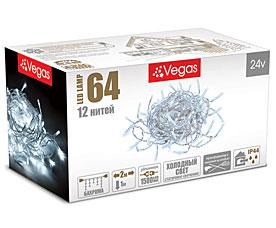 Электрогирлянда Бахрома 2x1м, 64 холодных LED ламп, 12 нитей Vegas 55013Гирлянды<br><br>