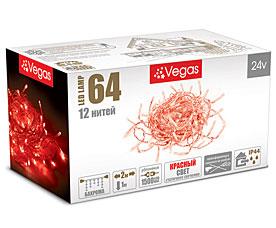 Электрогирлянда Бахрома 2x1м, 64 красных LED ламп, 12 нитей Vegas 55015Гирлянды<br><br>