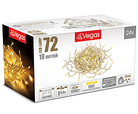 Электрогирлянда Бахрома 3x0,6м, 72 желтых LED ламп, 18 нитей Vegas 55010Гирлянды<br><br>