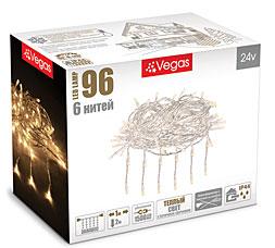Электрогирлянда Занавес 1x2м, 96 теплых LED ламп, 6 нитей Vegas 55018Гирлянды<br><br>