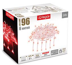 Электрогирлянда Занавес 1x2м, 96 красных LED ламп, 6 нитей Vegas 55021Гирлянды<br><br>