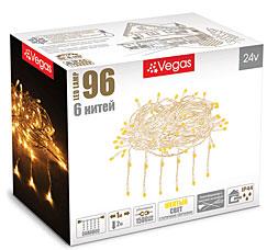 Электрогирлянда Занавес 1x2м, 96 желтых LED ламп, 6 нитей Vegas 55022Гирлянды<br><br>