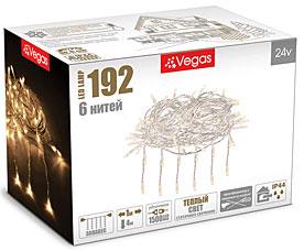 Электрогирлянда Занавес 1x4м, 192 теплых LED ламп, 6 нитей Vegas 55024Гирлянды<br><br>