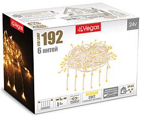 Электрогирлянда Занавес 1x4м, 192 желтых LED ламп, 6 нитей Vegas 55028Гирлянды<br><br>