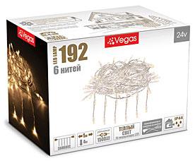 Электрогирлянда Занавес 1x4м, 192 теплых LED ламп, 6 нитей Vegas 55029Гирлянды<br><br>