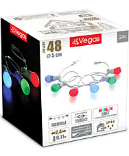 Электрогирлянда Лампы 2,4м, 6 шт, (6x8 разноцветных LED ламп) Vegas 55040Гирлянды<br><br>